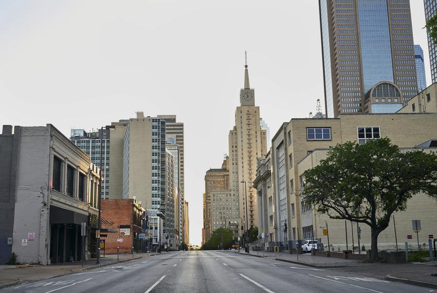 A general view of Dallas on March 31, 2020.
