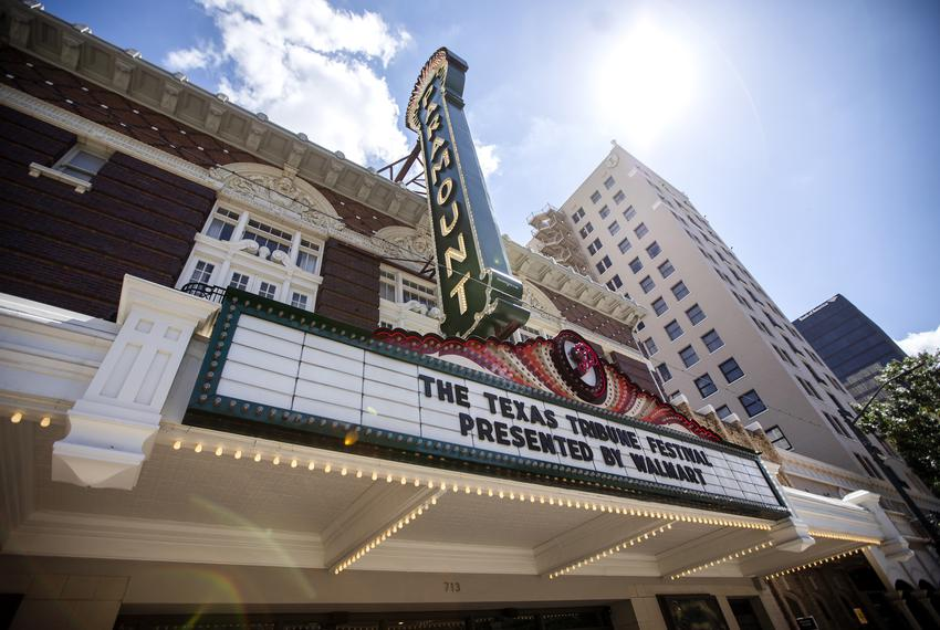 The marquee at the Paramount Theatre during The Texas Tribune festival on Sept. 27, 2019.