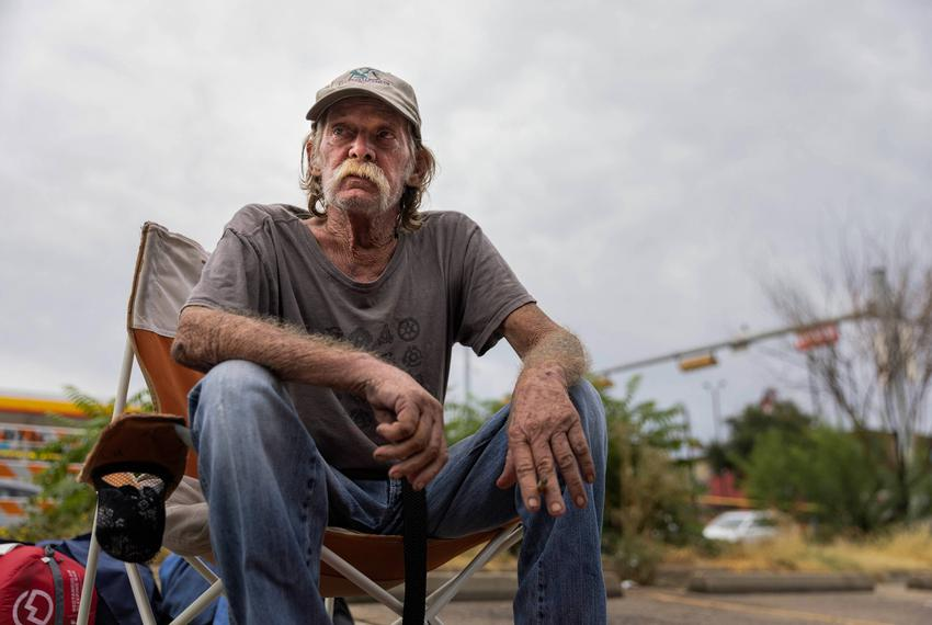 Billy Smith, 61, lived at the homeless encampment under I-35 near APD headquarters for a year until it was cleared on Septem…
