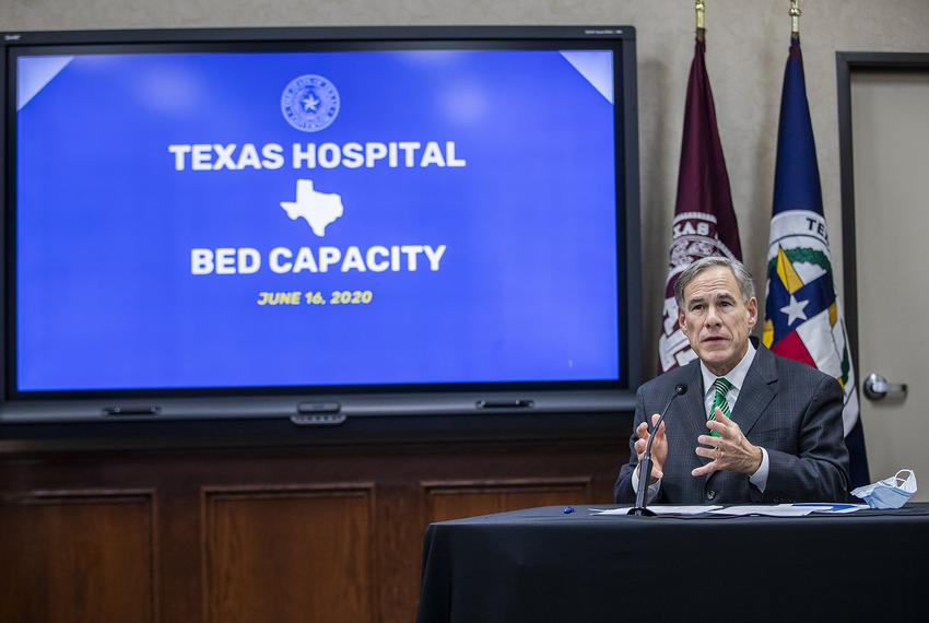 Gov. Greg Abbott gives an update on Texas hospital bed capacity and state's strategy for fighting COVID-19 during a press co…