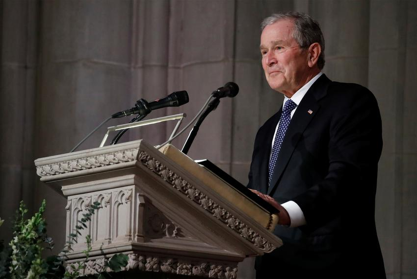 Former President George W. Bush speaks at the funeral for his father, former President George H.W. Bush, at the National C...