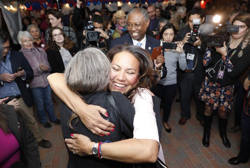Veronica Escobar, a Democratic candidate for the U.S. House, celebrates early voting results with supporters at her primar...