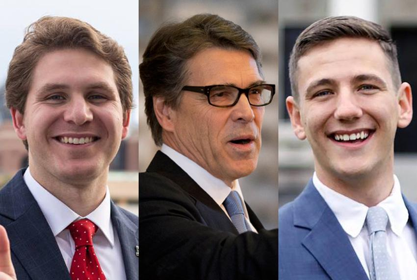 Energy Secretary and former Gov. Rick Perry flanked by Texas A&M student president candidates Robert McIntosh (l.) and Bob...