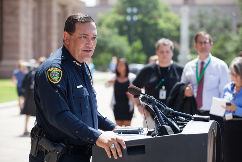 Houston Police Chief Art Acevedo speaks out against bathroom bills at a press conference on the steps of the state capitol on July 25, 2017.