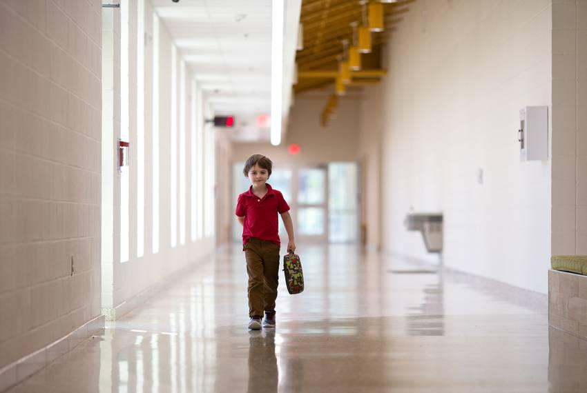 Corbyn Sims walks unsupervised at East Texas Montessori Prep Academy.