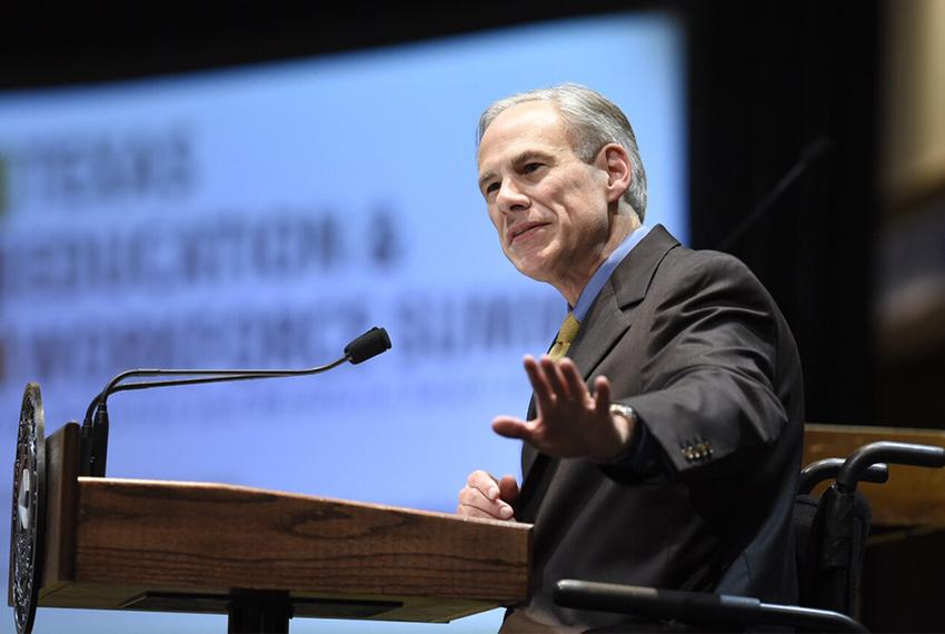 Gov. Greg Abbott speaking on Sept. 19 at a conference hosted by the Higher Education Coordinating Board and the Workforce Co…