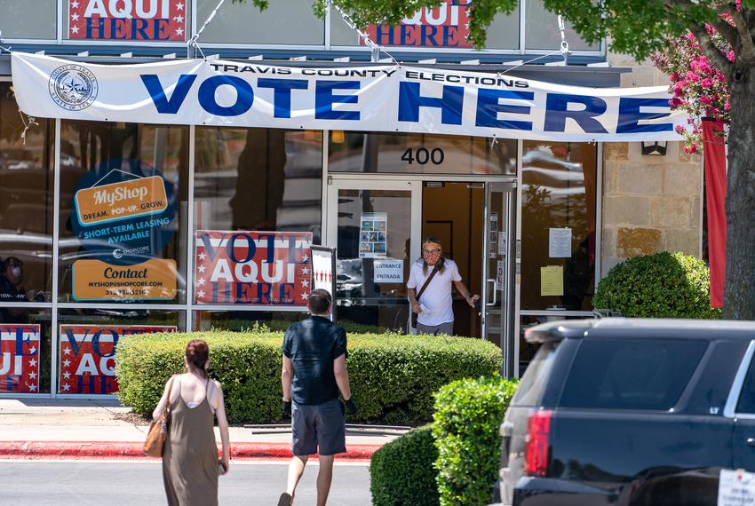The Southpark Meadows polling location on election day in Texas' primary runoffs and special elections on July 14, 2020.