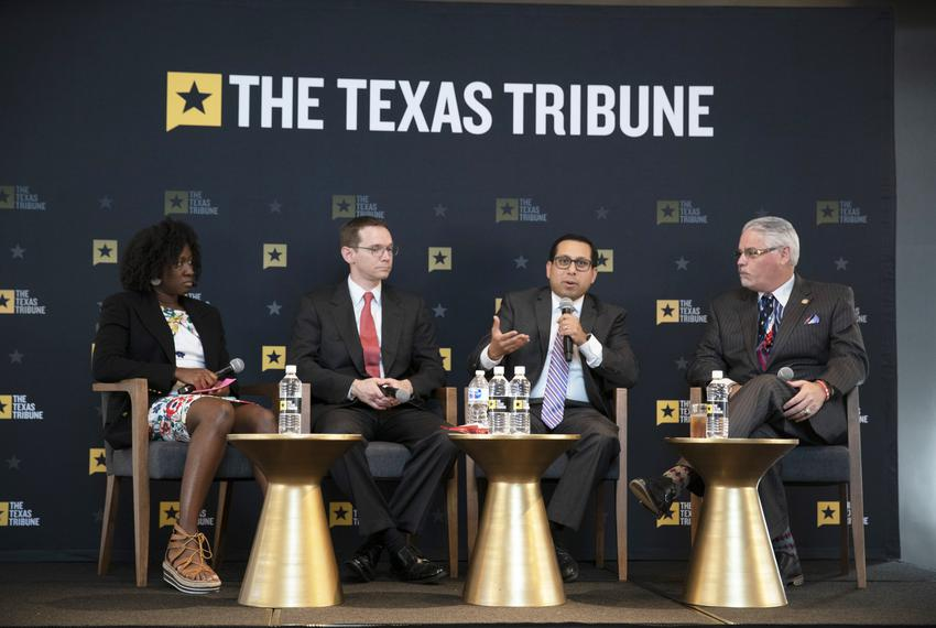 Left to right: moderator and Texas Tribune public education reporter Aliyya Swaby, Texas Education Commissioner Mike Morat...