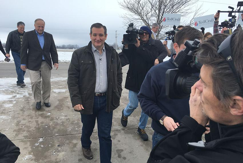 U.S. Sen. Ted Cruz arrived Jan. 4 at the first stop on a six-day tour of Iowa. The Republican presidential candidate was set…