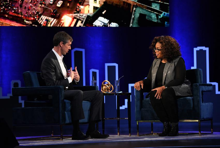 "Oprah Winfrey with former U.S. Rep. Beto O'Rourke at Winfrey's ""SuperSoul Conversations from Times Square"" at the PlayStatio…"