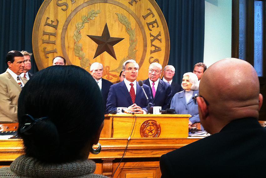 University of Texas at Brownsville President Juliet Garcia and University of Texas-Pan American President Robert Nelsen look…
