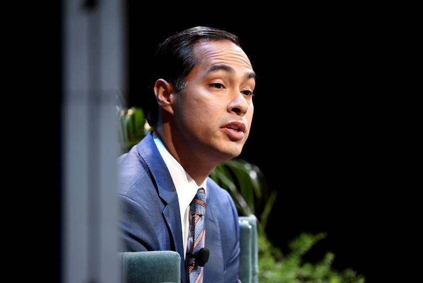 Julian Castro of San Antonio talks with MSNBC journalist Katy Tur ding a Saturday session of the Texas Tribune Festival in...