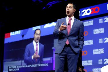 Presidential candidate and former Housing and Urban Development Secretary Julián Castro speaks at the National Education Association presidential forum in Houston on Friday, July 5, 2019.