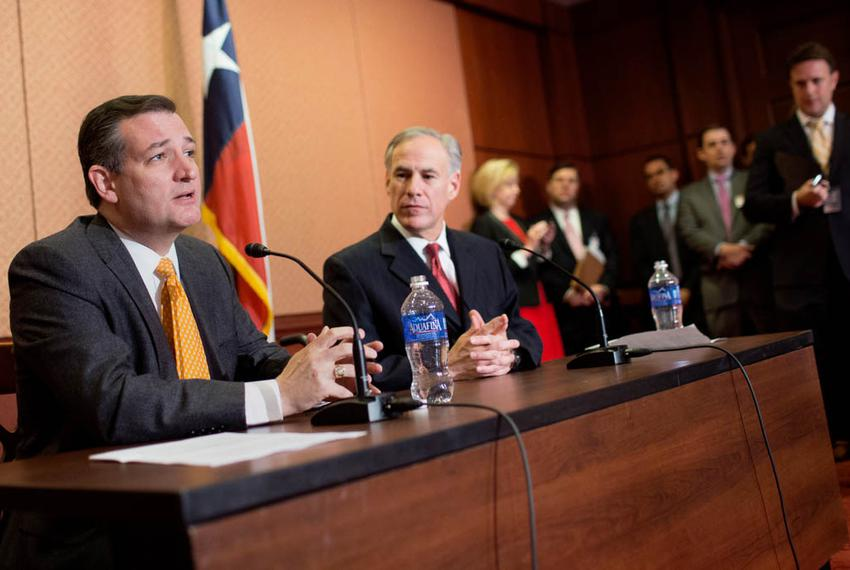 Sen. Ted Cruz, R-Texas and Gov. Greg Abbott speak at a press conference in the Capitol about Cruz's State Refugee Security A…