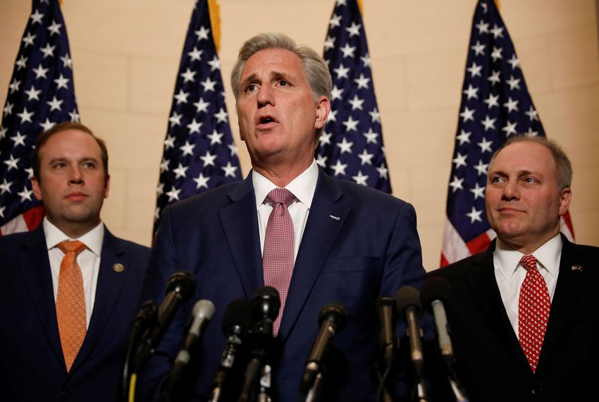 House Minority Leader Kevin McCarthy speaks at a news conference following leadership elections on Capitol Hill in Washington, D.C., on Nov. 14, 2018.