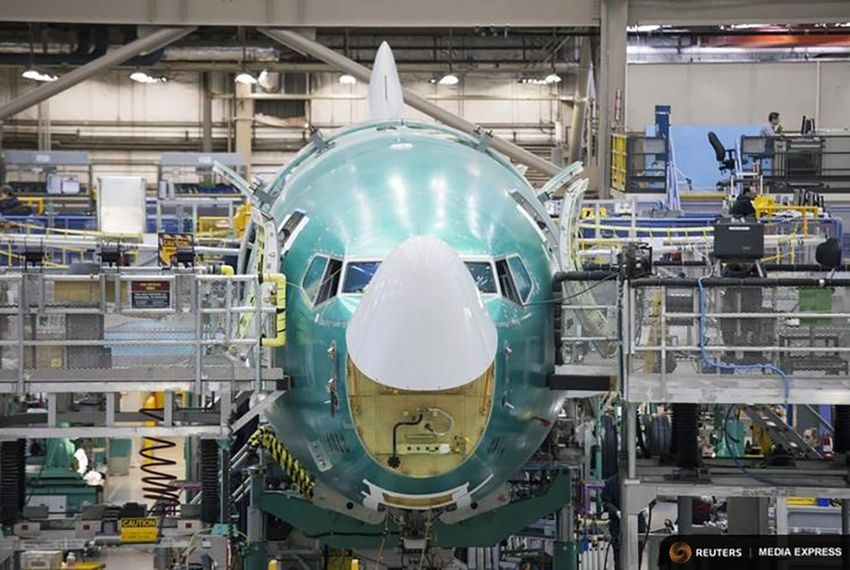 A Boeing 737 jetliner under assembly in Renton, Washington on Feb. 4, 2014.