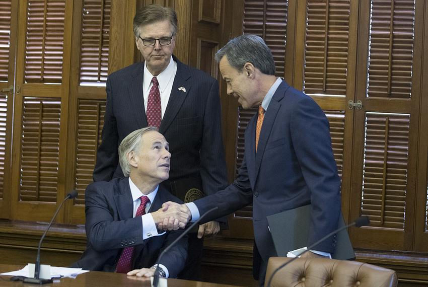 The three leaders of Texas make nice at a short Cash Management Committee meeting in the Betty King Room of the Texas Capi...