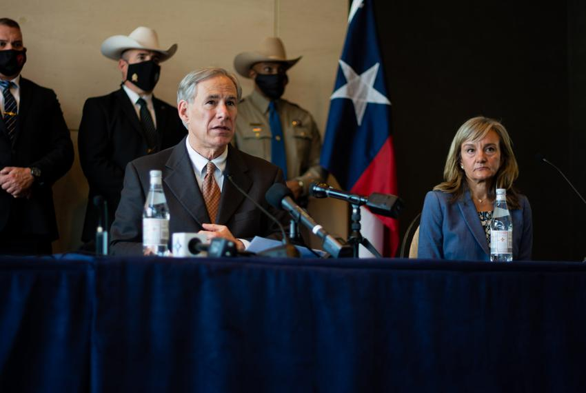 Gov. Greg Abbott holds a press conference in Dallas on unaccompanied minors crossing the southern border on March 17, 2021.