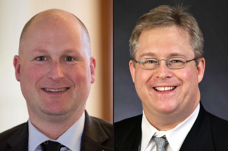 Incumbent Tony Tinderholt (l.) and opponent Andrew Piel are vying for the HD 94 seat in Arlington in the March 1 GOP primary. No Democrat is running.