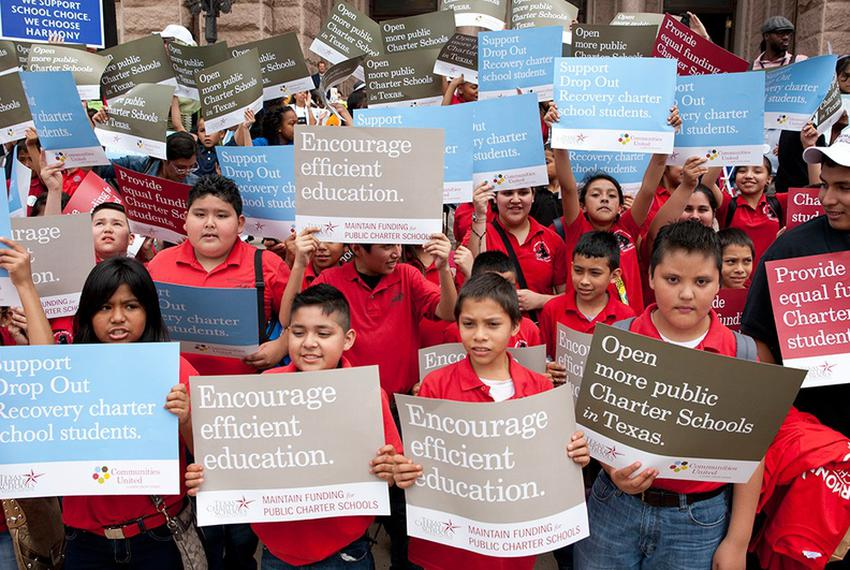 Texas charter school children and supporters rallied at the Texas Capitol to lobby the Legislature for more funding on May...