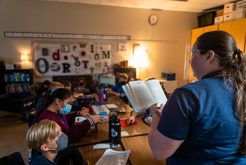 Teacher Melissa Perry reads to her fifth grade class at Jacob's Well Elementary School in Wimberley on September 4, 2020.