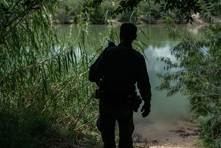 On U.S. soil a short boat ride from Mexico, Border Patrol agent Robert Rodríguez, 38, checks a common landing area for people crossing the Rio Grande.