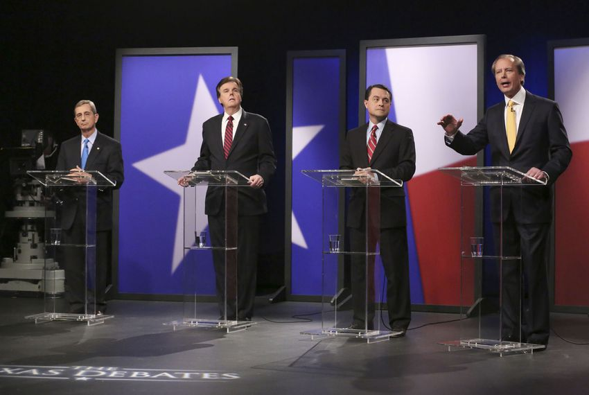 Republican candidates for lieutenant governor from left, Land Commissioner Jerry Patterson; state Sen. Dan Patrick, R-Houston; Agricultural Commissioner Todd Staples; and Lt. Gov. David Dewhurst take their places for a debate at KERA studios in Dallas on Monday, Jan. 27, 2014.