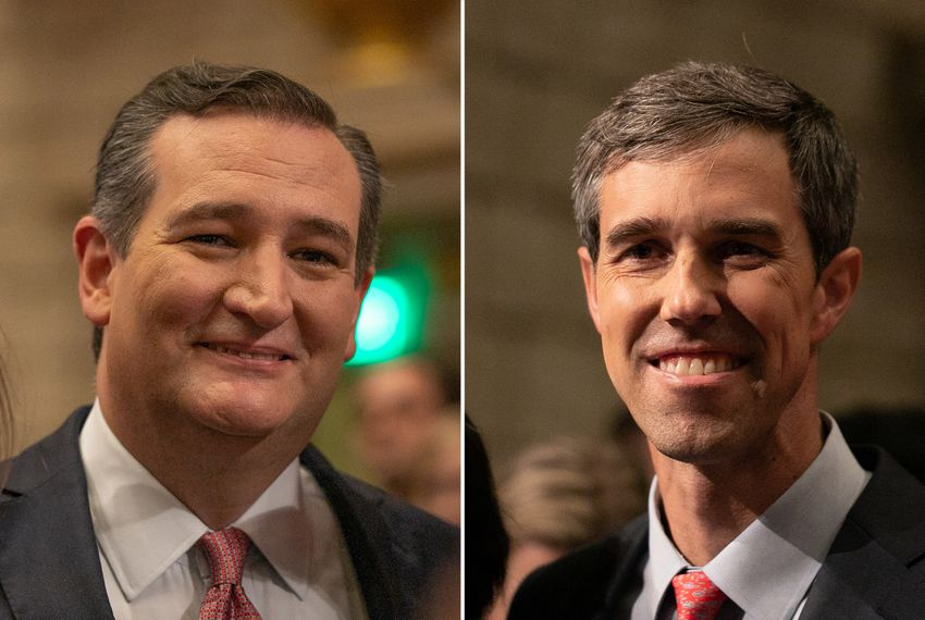 U.S. Sen. Ted Cruz (left) and U.S. Rep. Beto O'Rourke, D-El Paso, at their first debate, in Dallas, on Sept. 21, 2018.