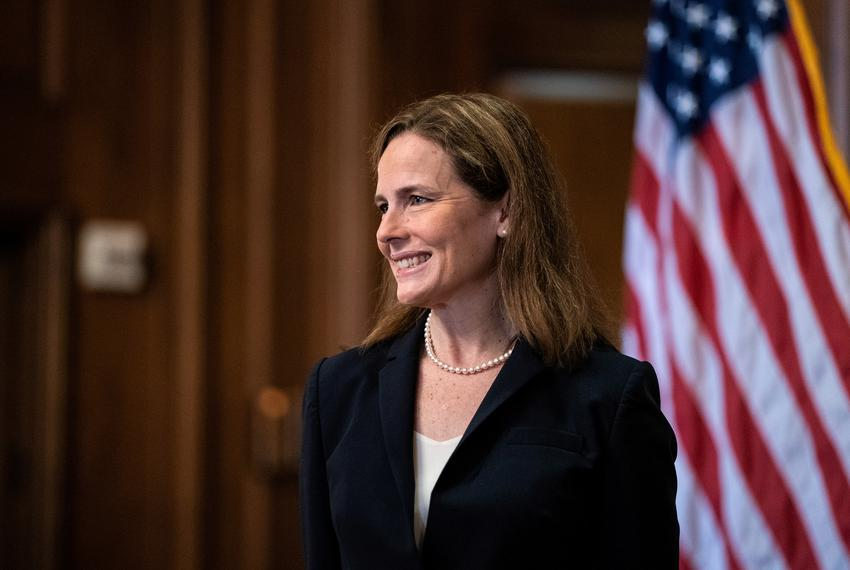 Judge Amy Coney Barrett, President Donald Trump's Nominee for Supreme Court, posed for a photo on Capitol Hill in Washington…