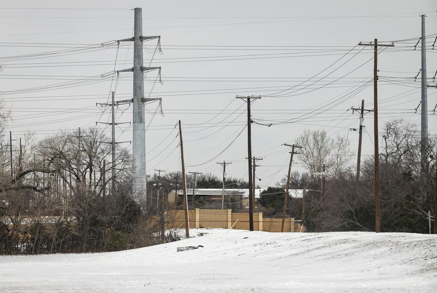 A variety of power lines in Dallas near Greenville Avenue during a winter storm on Feb. 16, 2021. Thousands of Dallas reside…