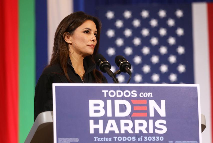 Actress Eva Longoria spoke before the arrival of Former Vice President and Democratic U.S. presidential nominee Joe Biden at…
