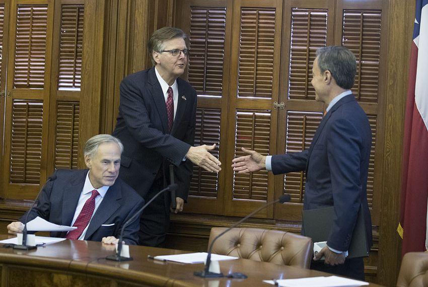 Gov. Greg Abbott, Lt. Gov. Dan Patrick and House Speaker Joe Straus meet at the short Cash Management Committee meeting on July 18, 2017.