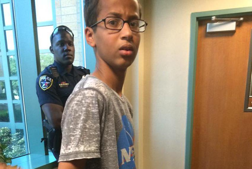 A photo of Irving teenager Ahmed Mohamed being taken into custody has gone viral.