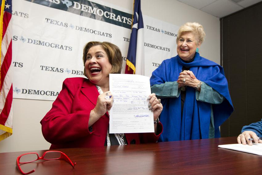 Sen Leticia Van de Putte after signing official papers for Lt. Governor with her mother Belle Ortiz at Texas Democratic Part…