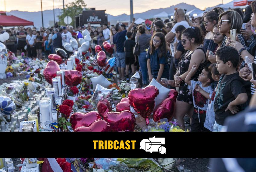 Hundreds lay flowers and candles at a shrine outside the Walmart in El Paso on August 6th, 2019.