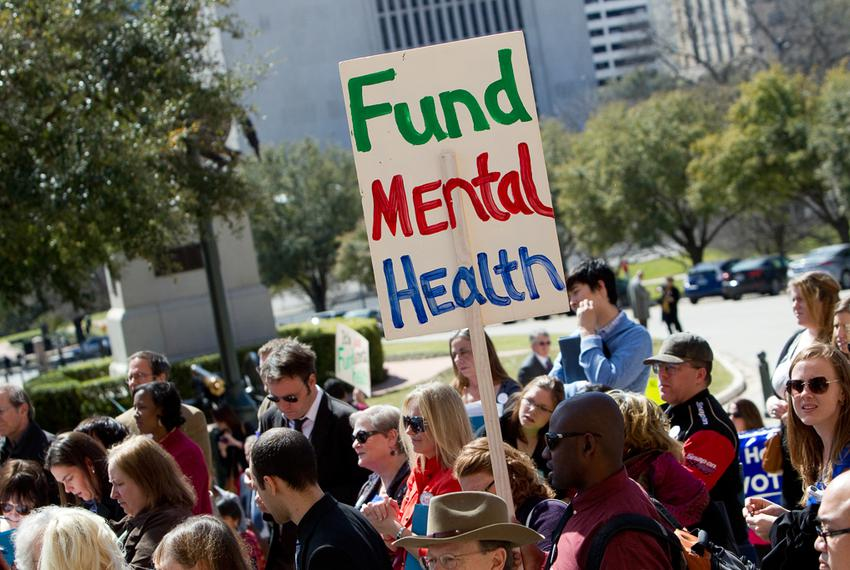 Demonstrators participate in a mental health rally at the Texas Capitol, organized by the National Alliance on Mental Illnes…