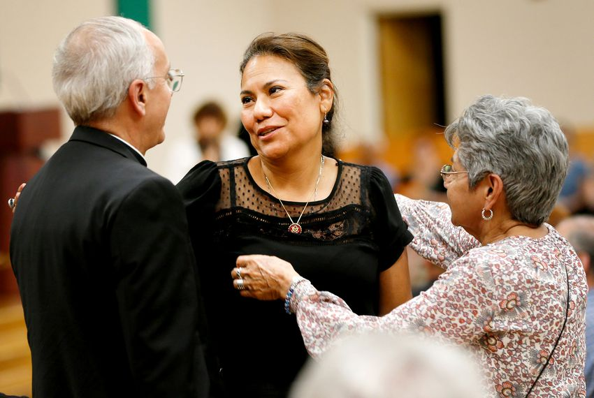 "U.S. Rep. Veronica Escobar, D-El Paso, is one of the keynote speakers at ""Standing Against Fear"" hosted by El Paso Interreligious Sponsoring Organization (EPISO)/ Border Interfaith, on Thursday, Aug. 8, at St. Paul's Catholic Church in El Paso. The gathering was intended to help attendees ""grieve and rebuild the bonds of trust to overcome fear and hate."""