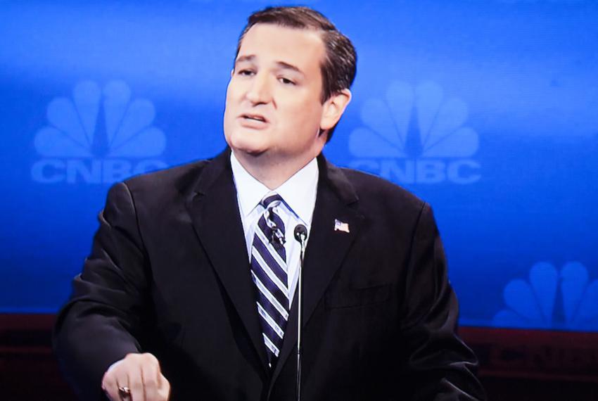 Sen. Ted Cruz at the third GOP presidential debate in Boulder, Colorado on Oct. 28, 2015.