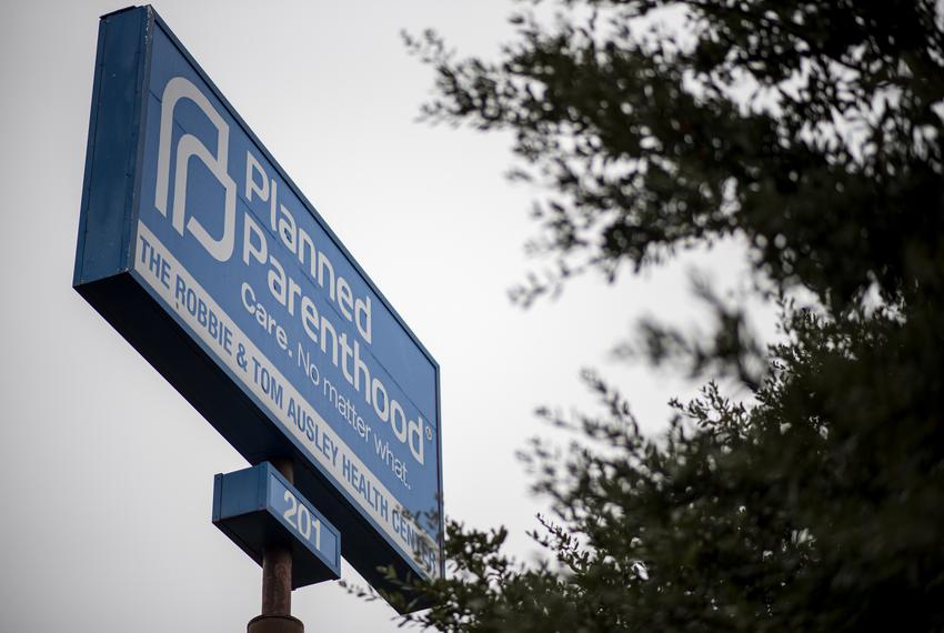 A Planned Parenthood sign found in the South Austin Health Center location on Jan. 14, 2020.