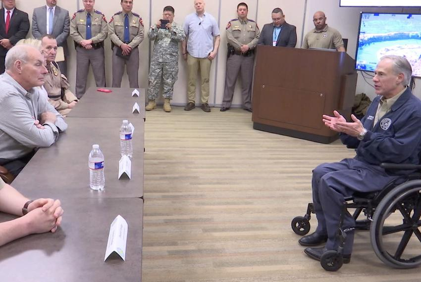 Gov. Greg Abbott speaks to Homeland Security Secretary John Kelly in Weslaco on Feb. 1, 2017.