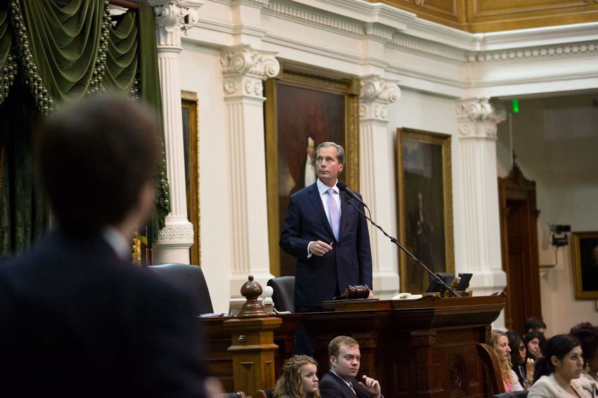 Lt. Gov. David Dewhurst in the state Senate during the abortion debate on July 13, 2013.