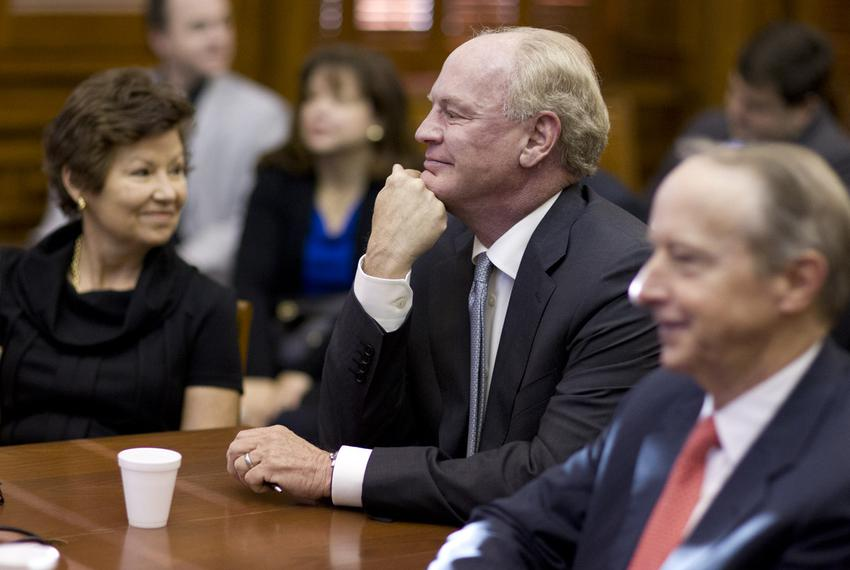 University of Texas Regent nominees Sara Martinez Tucker, R.Steven Hicks and David Beck await questioning at Senate Nominati…