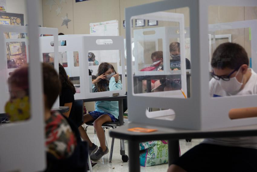 Students in Mrs. Cazares's third-grade class on the first day of in-person classes at Highland Village Elementary on Sept. 8…
