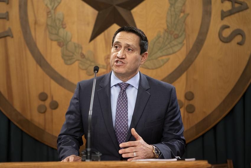 State Rep. Trey Martinez Fischer, D-San Antonio, speaks at a press conference in reaction to a property tax reform proposal …