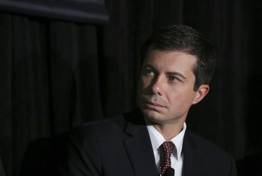 "South Bend Mayor Pete Buttigieg speaks at the panel, ""How Cities are Tackling Climate Change,"" featuring Steve Adler, Ron ..."