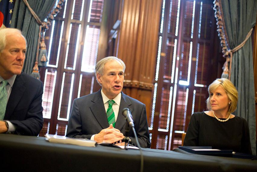 Gov. Greg Abbott speaks at a press conference on Harvey recovery efforts at the state Capitol on Nov. 17, 2017. Abbott is fl…