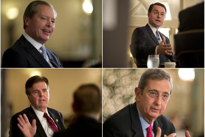 Clockwise, the four GOP Candidates for Lt. Gov.: incumbent David Dewhurst, Agricultural Commissioner Todd Staples; Land Co...