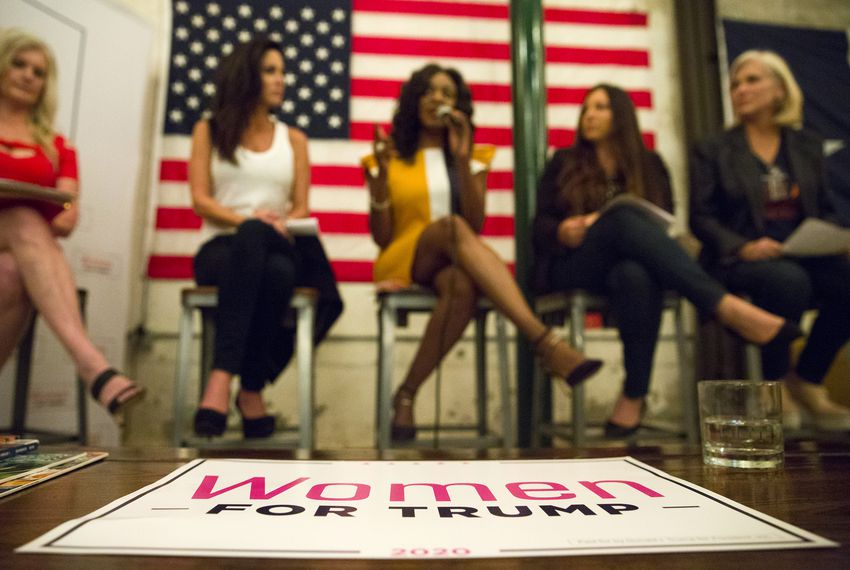 Panelist Jacquie Baly responds to a question during a Trump Victory Leadership Initiative Training hosted by Women for Trump at Gulf Coast Distillers in Houston on Oct. 29, 2019.
