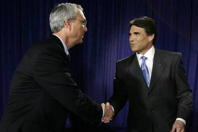 Chris Bell, left, finished second to Rick Perry in the 2006 Texas gubernatorial race.