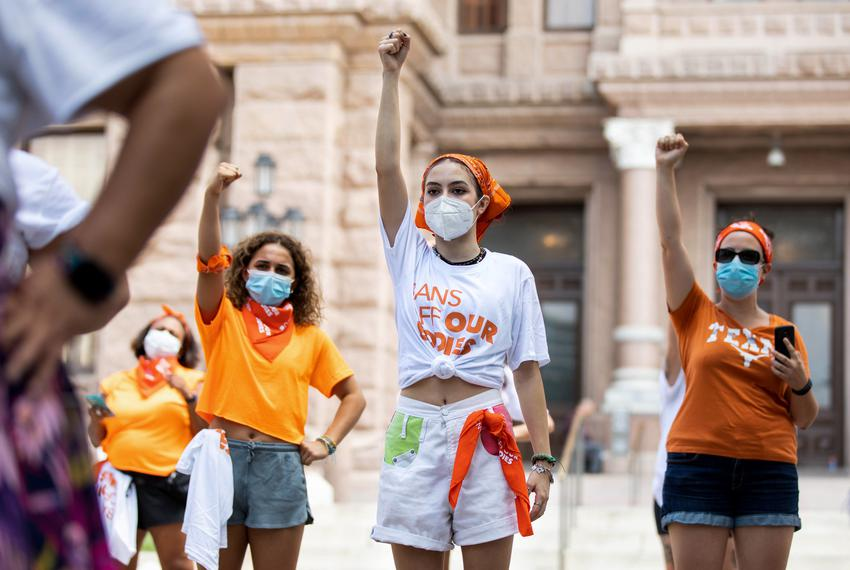 Protesters chanting during the Bans Off Our Bodies protest at the Capitol on Sept. 1, 2021.